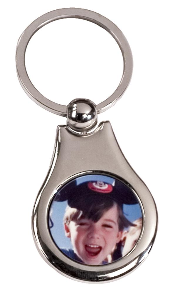 1 Sided Silver Keychain - Pear