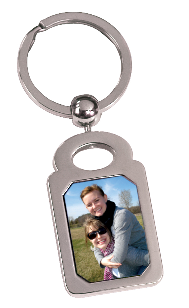 1 Sided Silver Keychain - Rectangle