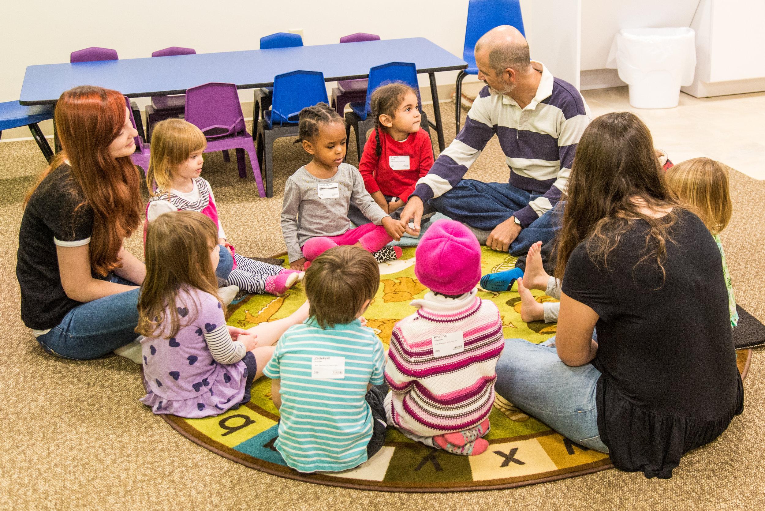 Chris teaching preschool on Sunday mornings