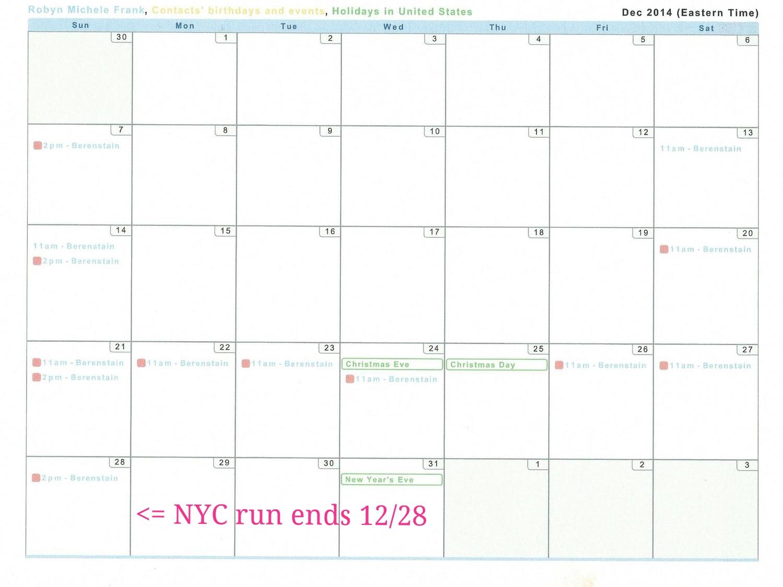 December 2014 Performance Calendar