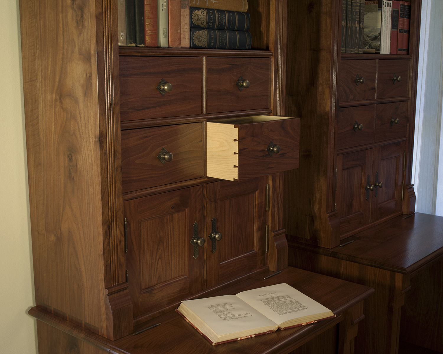 Traditional-Walnut-Bookcases-hand-cut-dovetail-drawers.jpg