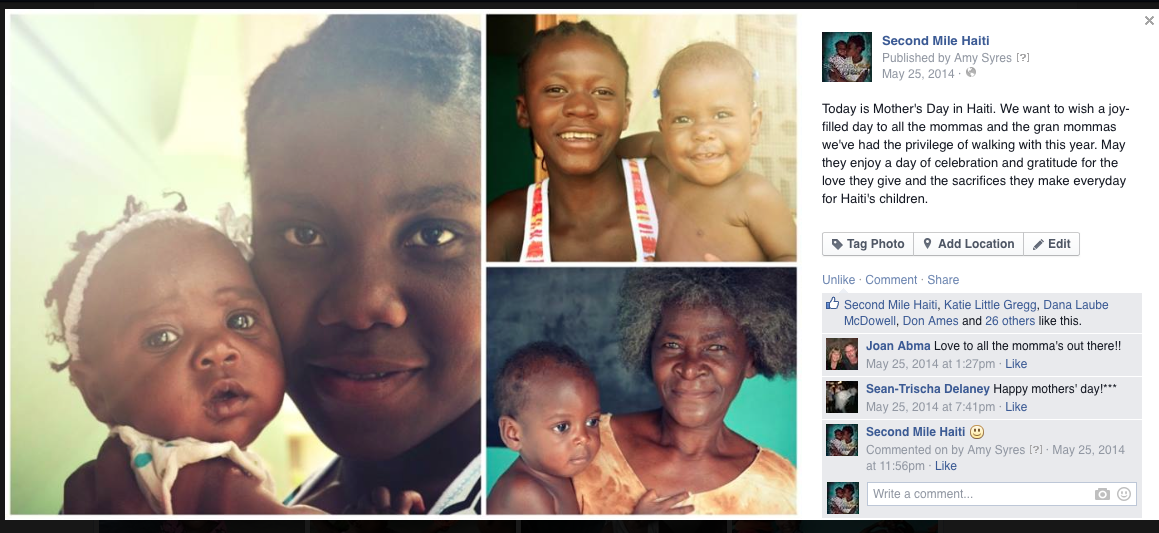 A Mother's Day post-MAY 2014- to celebrate the moms at Second Mile especially two new friends.
