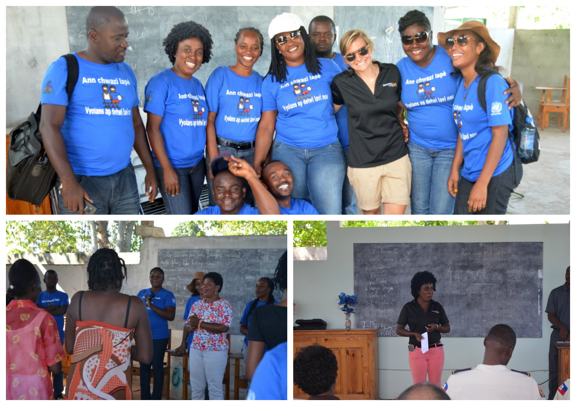 Campaign team * Sheloo leading a focus group * Kerline speaking at the grant closing ceremony