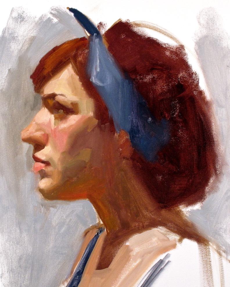 Sara, portrait sketch in oil by EF