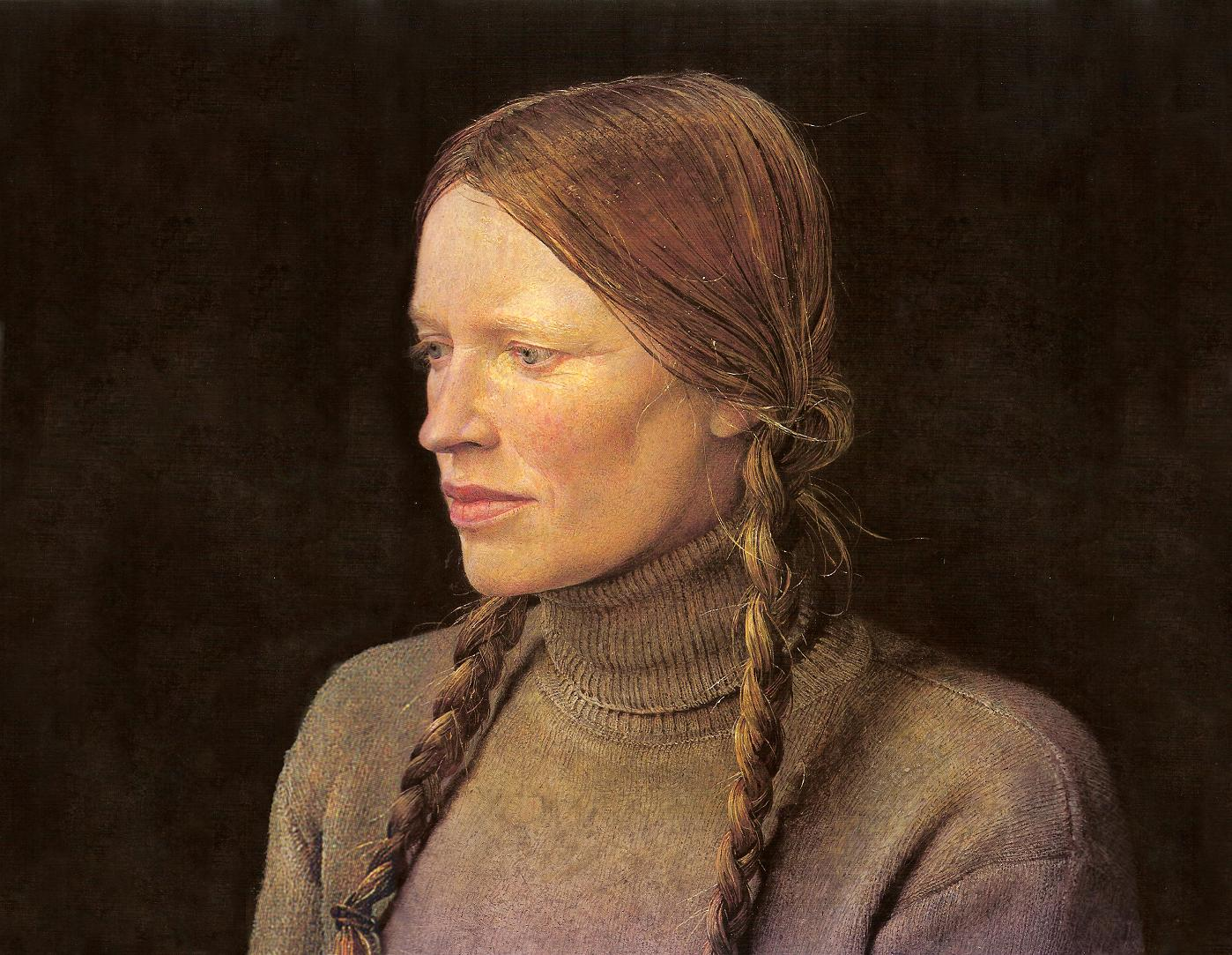 """"""" Braids """".Portrait of Helga,tempera on panel by AW."""
