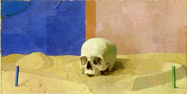 Skull 1994-7 Oil on canvas 12.75 x 25 in