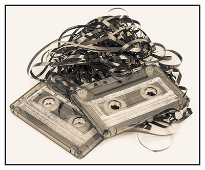 Audio cassette with tape tangle isolated