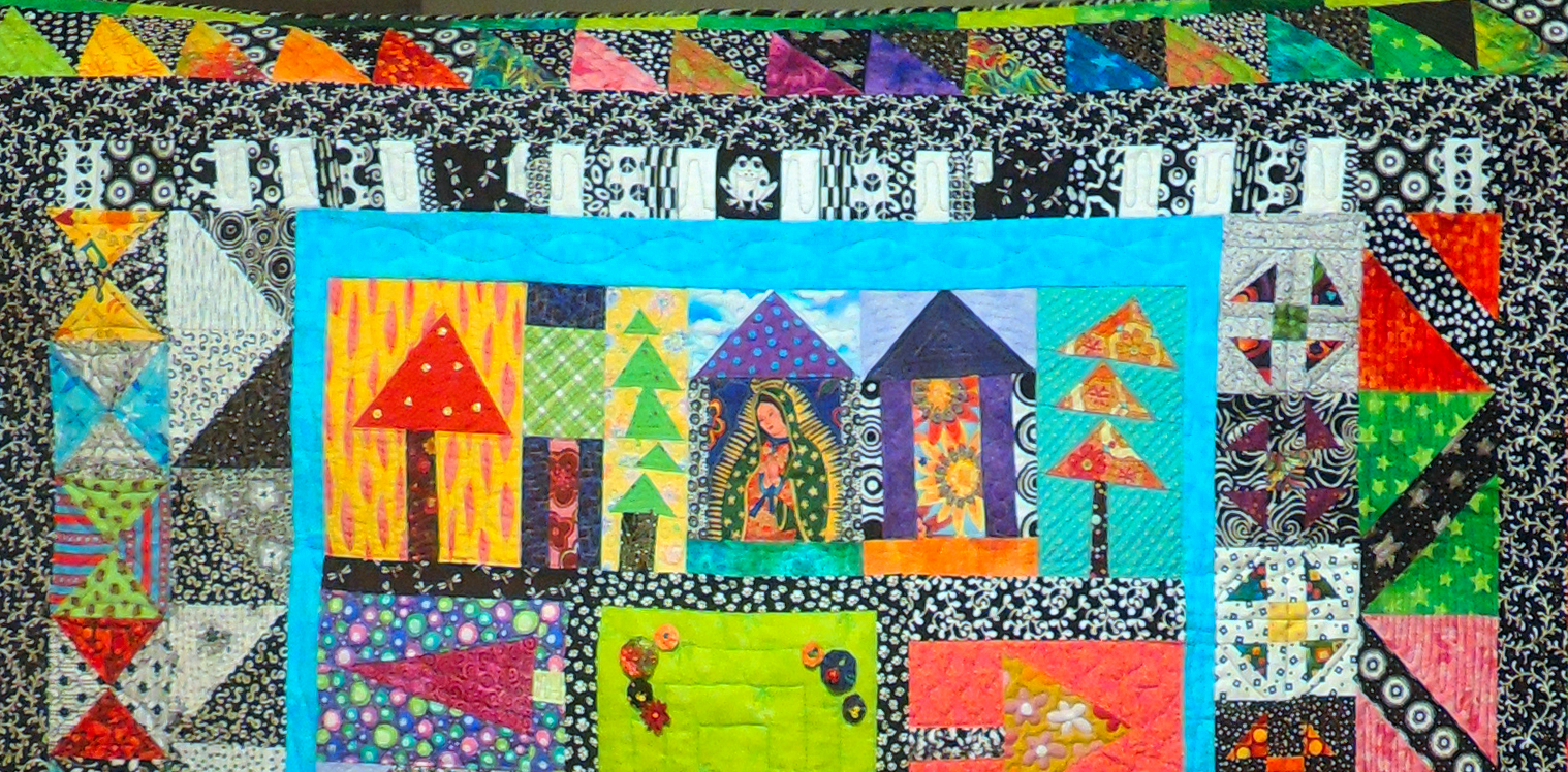 """This quilt was designed by my good friend Michelle Hoel, using blocks created from Freddy Moran and Gwen Marston's book, """"Collaborative Quilting."""