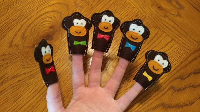 Five Monkeys Jumping on the Bed finger puppets