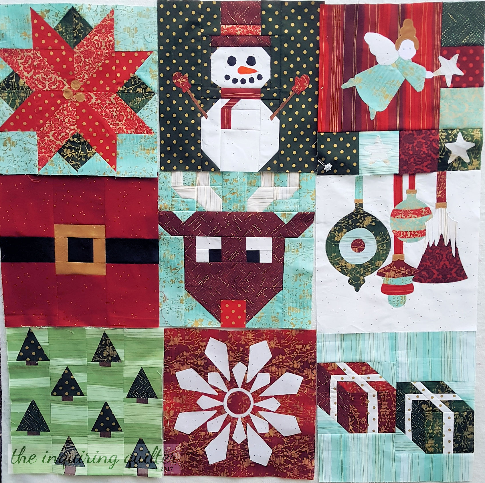 Blocks 1 through 9 - I Wish You a Merry Quilt Along
