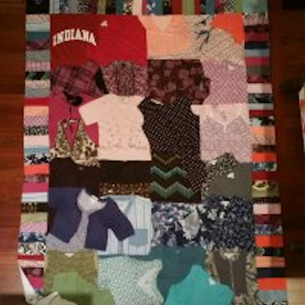 Crazy quilt with Lusa's clothes