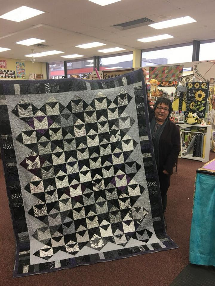 Cheryl Kitchen Vance shared this awesome quilt that featured a lot of literary fabrics (fabrics with literary pictures and quotes).