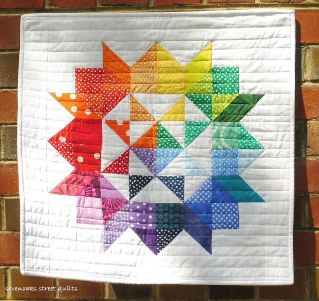 Susan Gordon's Rainbow Rose mini quilt from Week 9