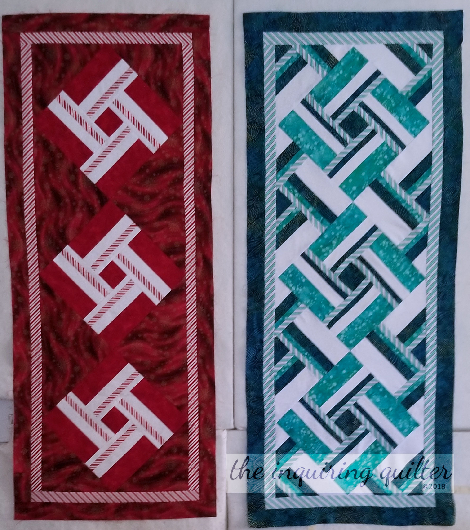 Peppermint Twist and Water Vortex table runners - pattern coming soon!