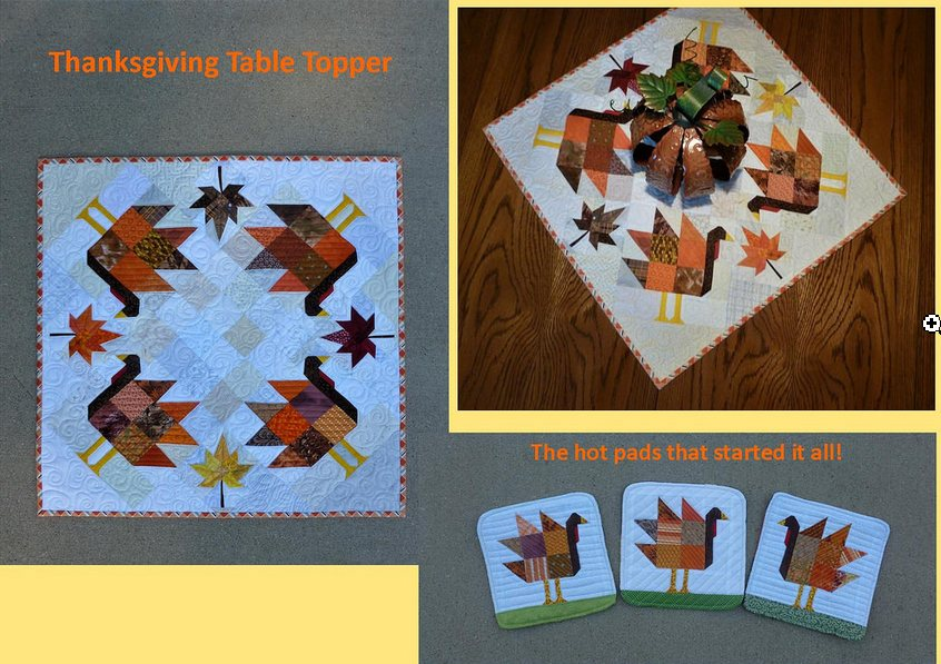 Lisa Marie turkey table topper and hot pads.JPG
