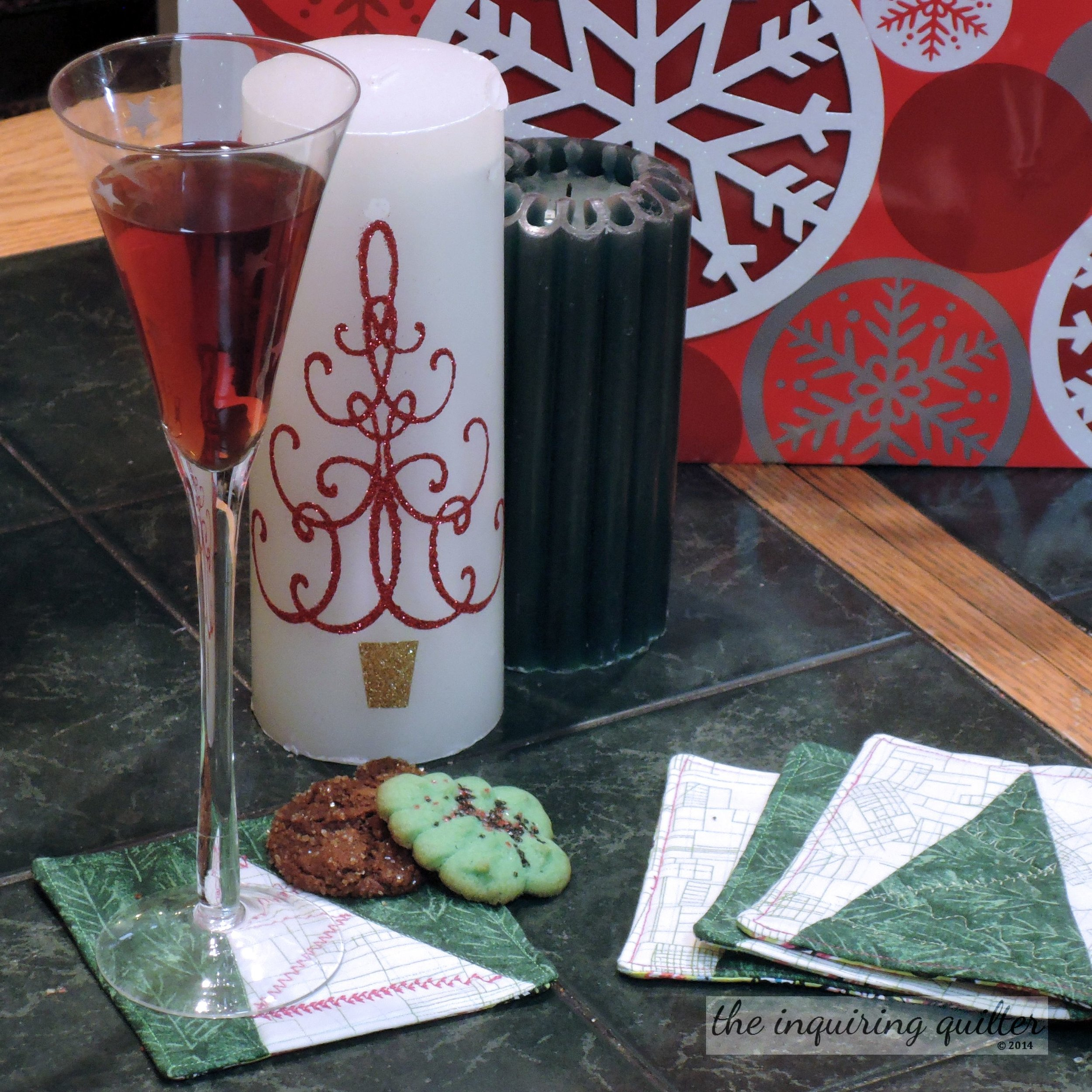 My Christmas tree mug rugs were quick to make, and featured in my 12 Days of Homemade Christmas Gifts series.