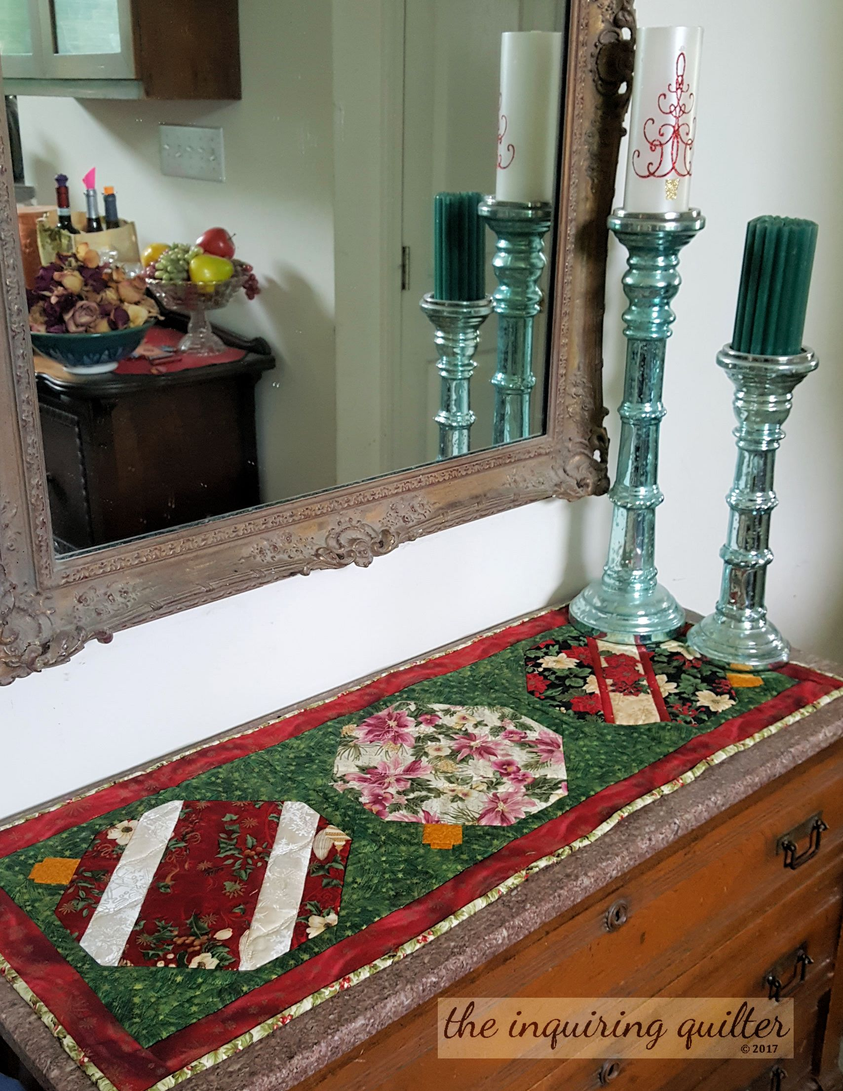 My Merry Berry table runner is quick to make! I shared the pattern for it during the 12 Days of Christmas in July 2017 blog hop.