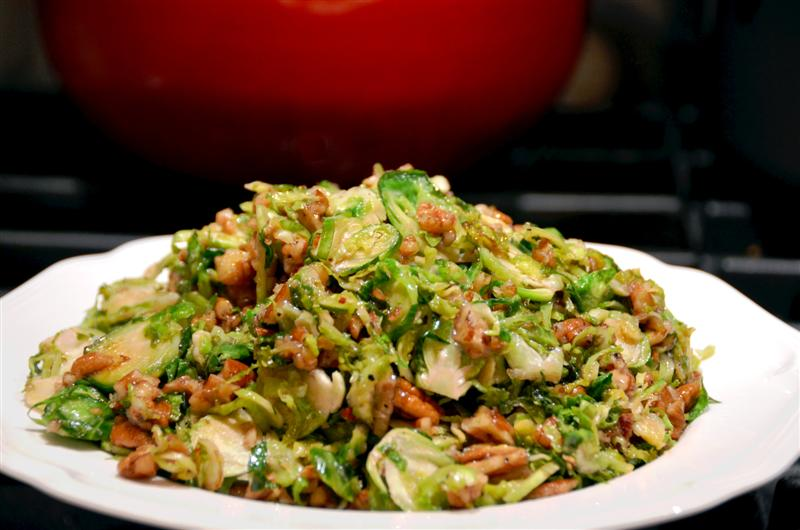SHredded Brussels sprouts with nuts - butteryum.  Brussels sprouts recipe with shredded sprouts.  Brussels sprouts stovetop recipe.