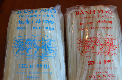 You'll also need 8 ounces of rice noodles.  I found these in the International section of the grocery store.