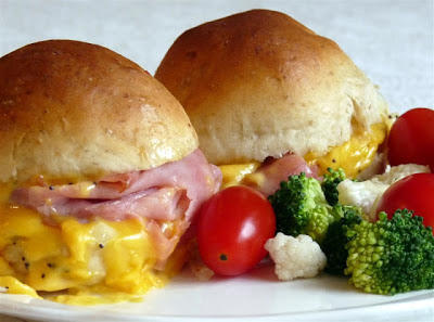 Hot Ham and Cheese Sliders with Onion Butter