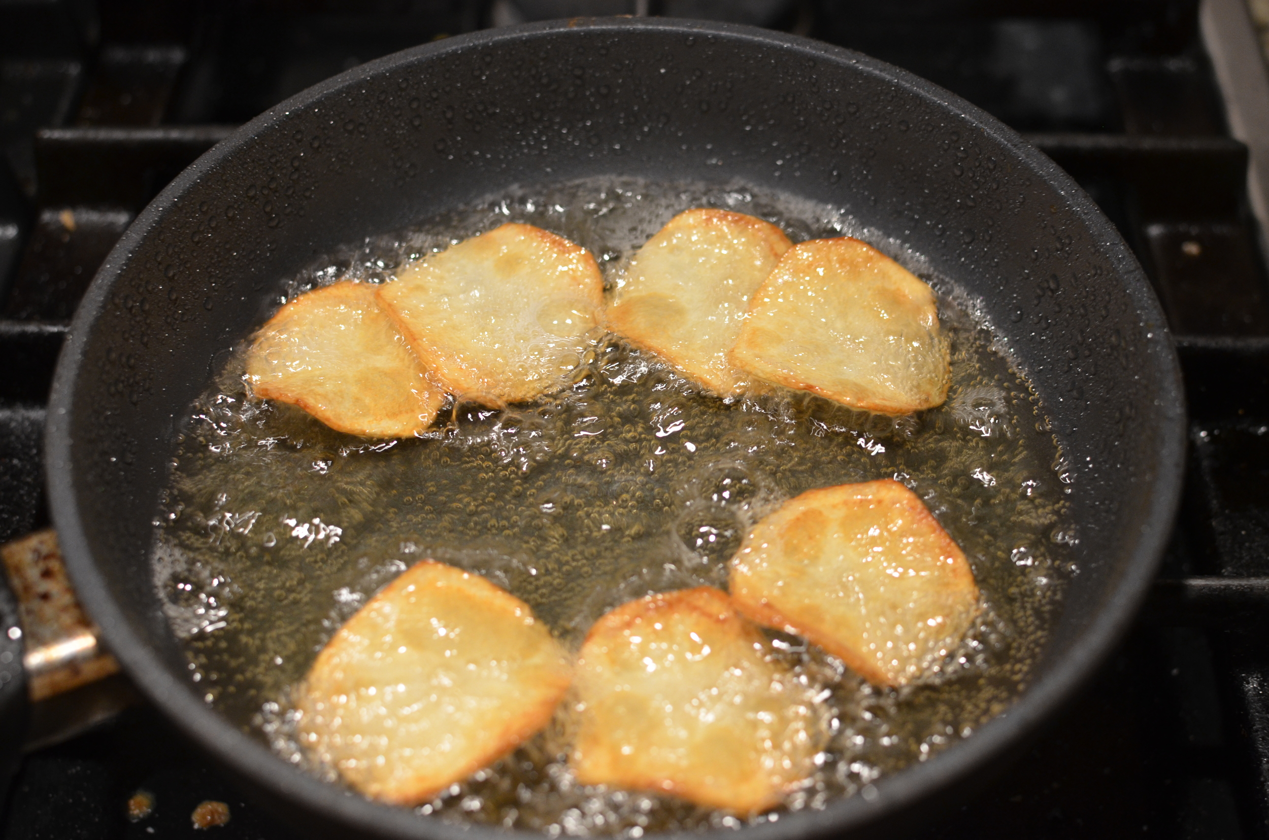 Continue frying on second side until they are nice and toasty all over.  Don't let them go too long - they'll darken a bit as they cool.