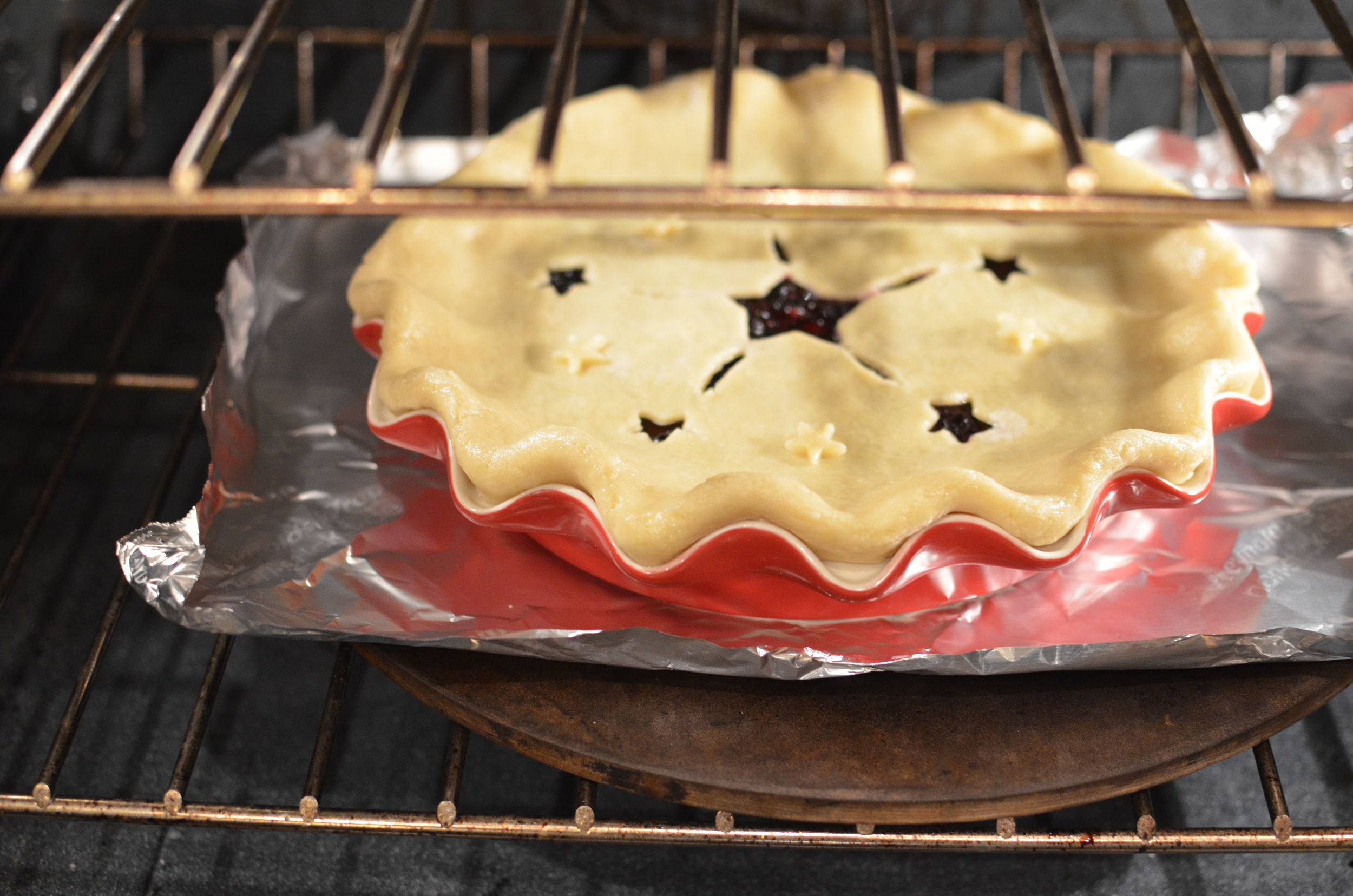 When the pie has chilled for an hour, place it into the preheated oven for 45-55 minutes.