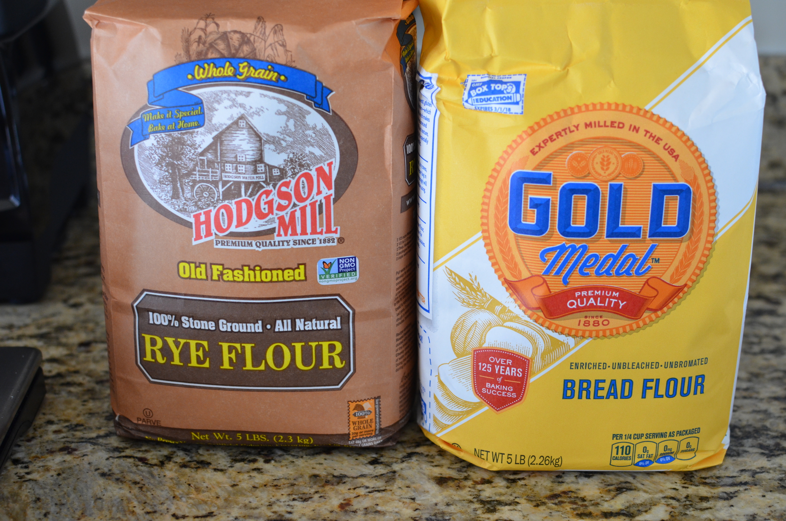 I wasn't able to find pumpernickel flour or coarse rye flour, but I did find stone ground rye. The recipe also calls for gold medal bread flour - it's much easier to find.  By the way, Rose apparently told one of the Alpha Bakers that the rye flour can be replaced with the same amount of bread flour, sothere you go.