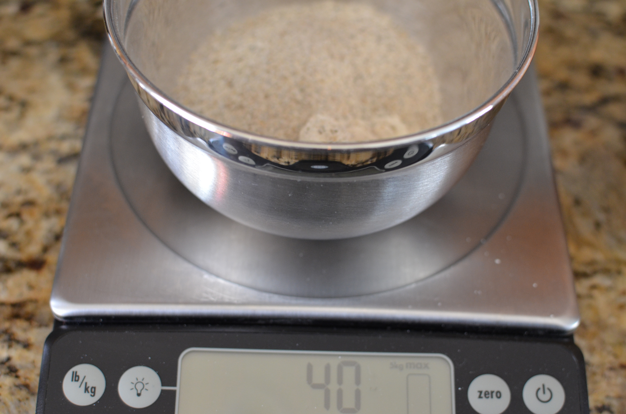 Okay, this recipe begins with a biga made with both flours.