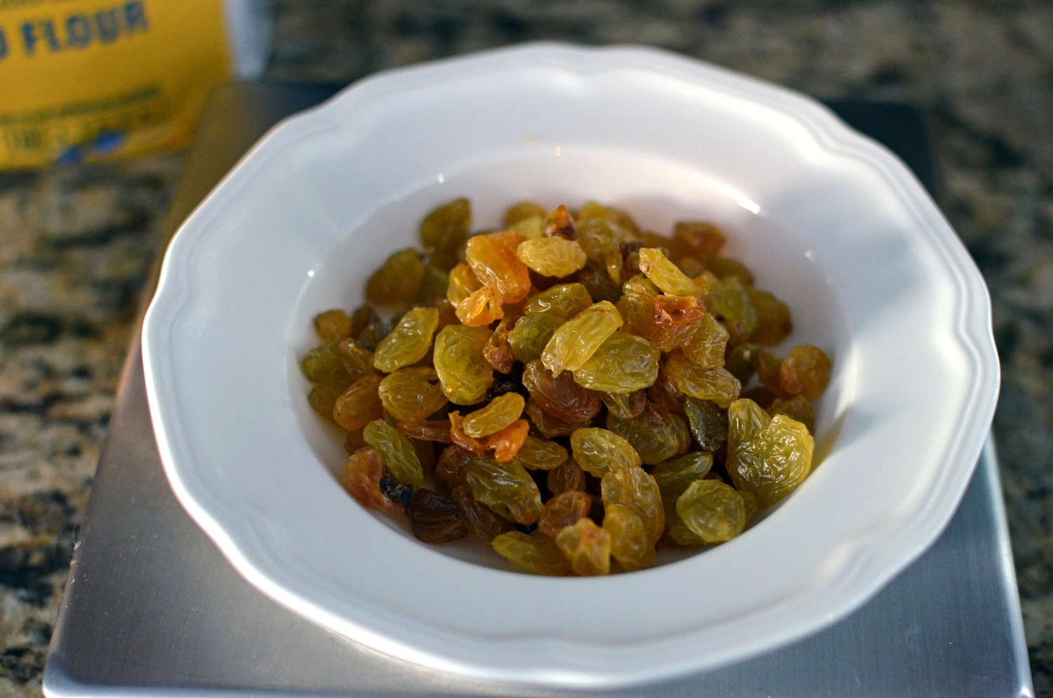 Don't be alarmed that my golden raisins look a little green - it was the light in the room.
