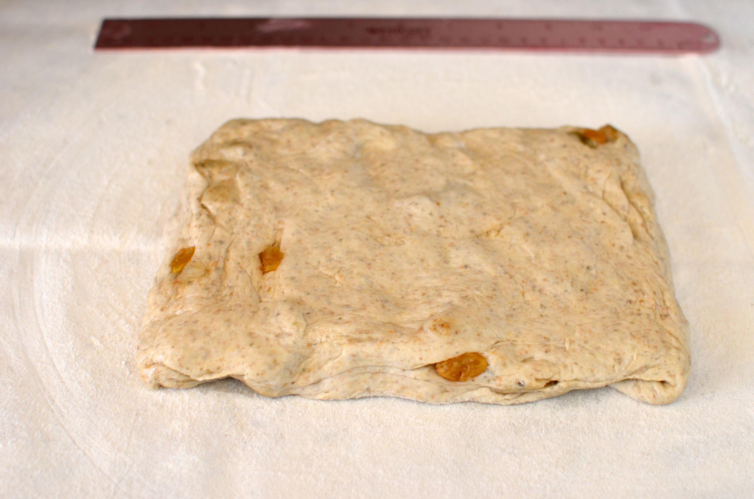 Press dough into a rectangle.