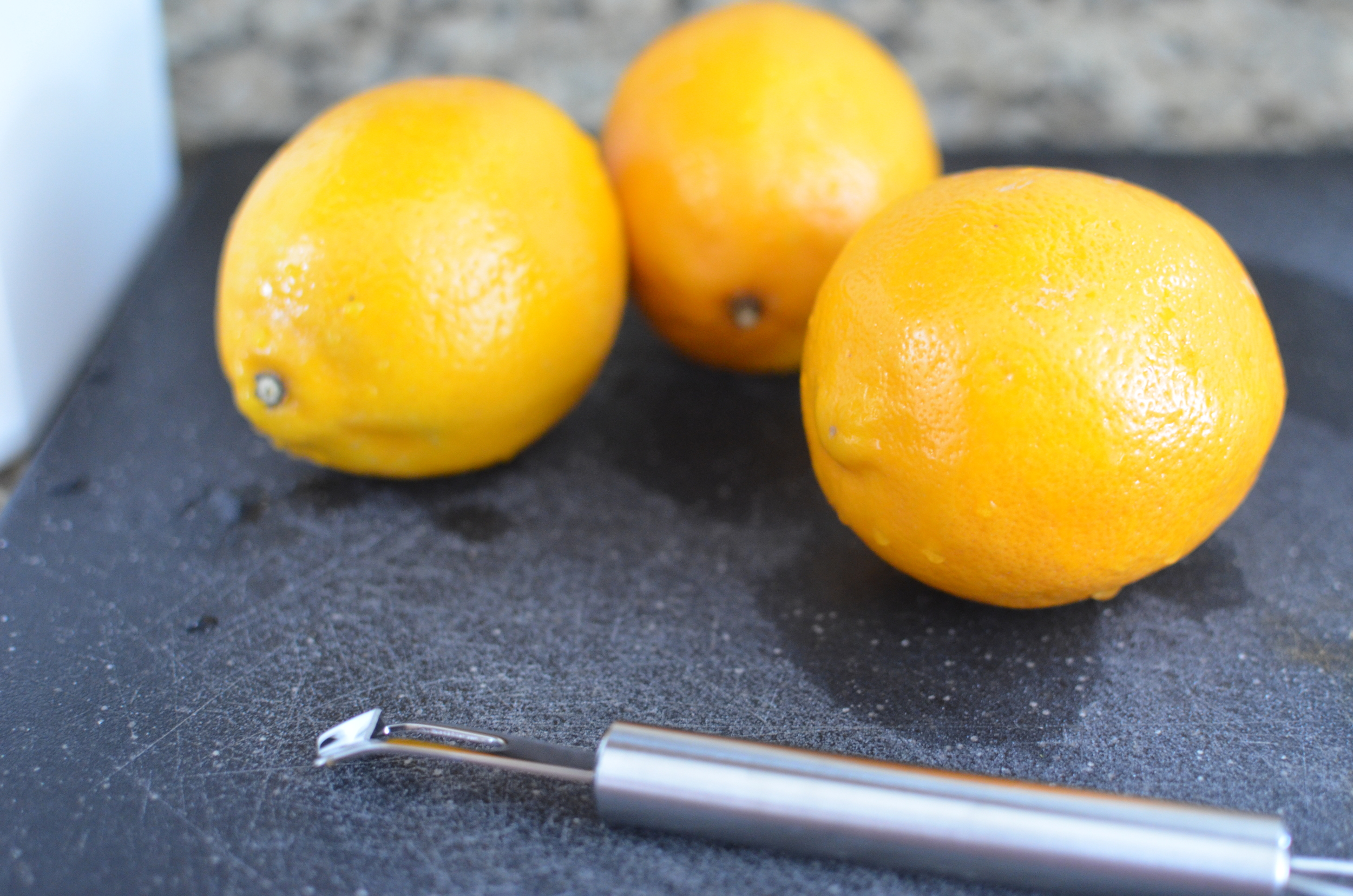 This recipe calls for Meyer lemons - a cross between traditional lemons and tangerines. They're a little less acidic than commonEureka lemons.