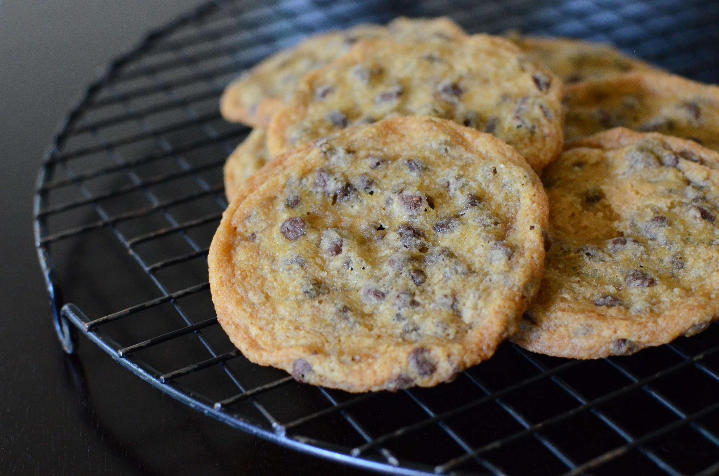 Favorite Chocolate Chip Cookies - ButterYum. Shirley O'Corriher's Thin and Chewy Chocolate Chip Cookies. Our favorite Chocolate Chip Cookies. My favorite CCC Recipe. How to make thin chocolate chip cookies. how to make chewy chocolate chip cookies. thin and chewy chocolate chip cookie recipe.