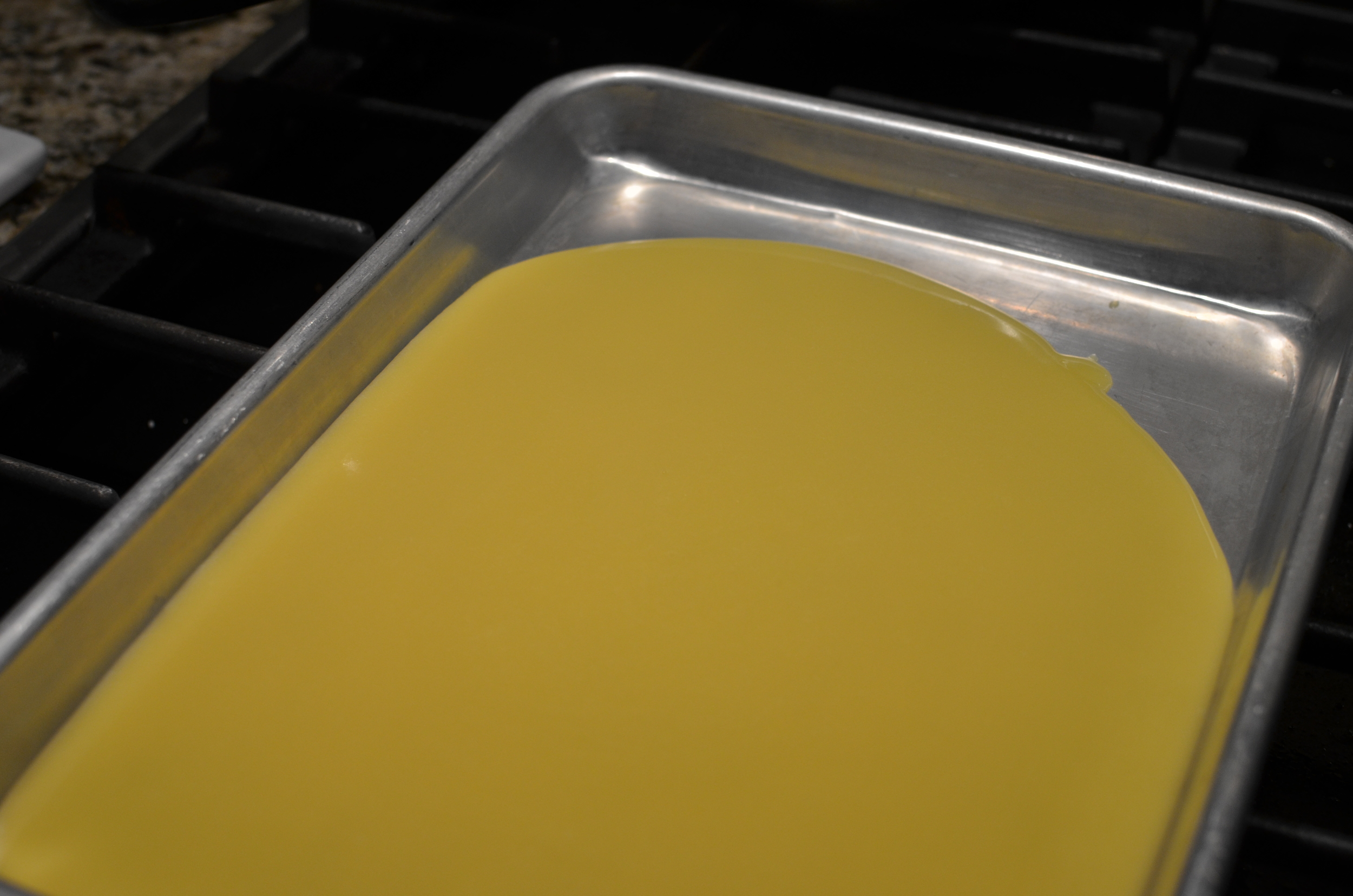 The more shallow the container, the faster the custard will cool.