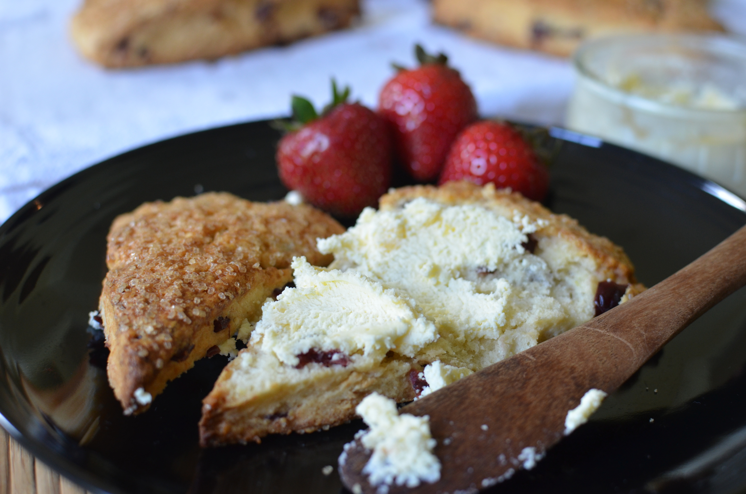 Flaky Cream Cheese Scones with Dried Cranberries - ButterYum