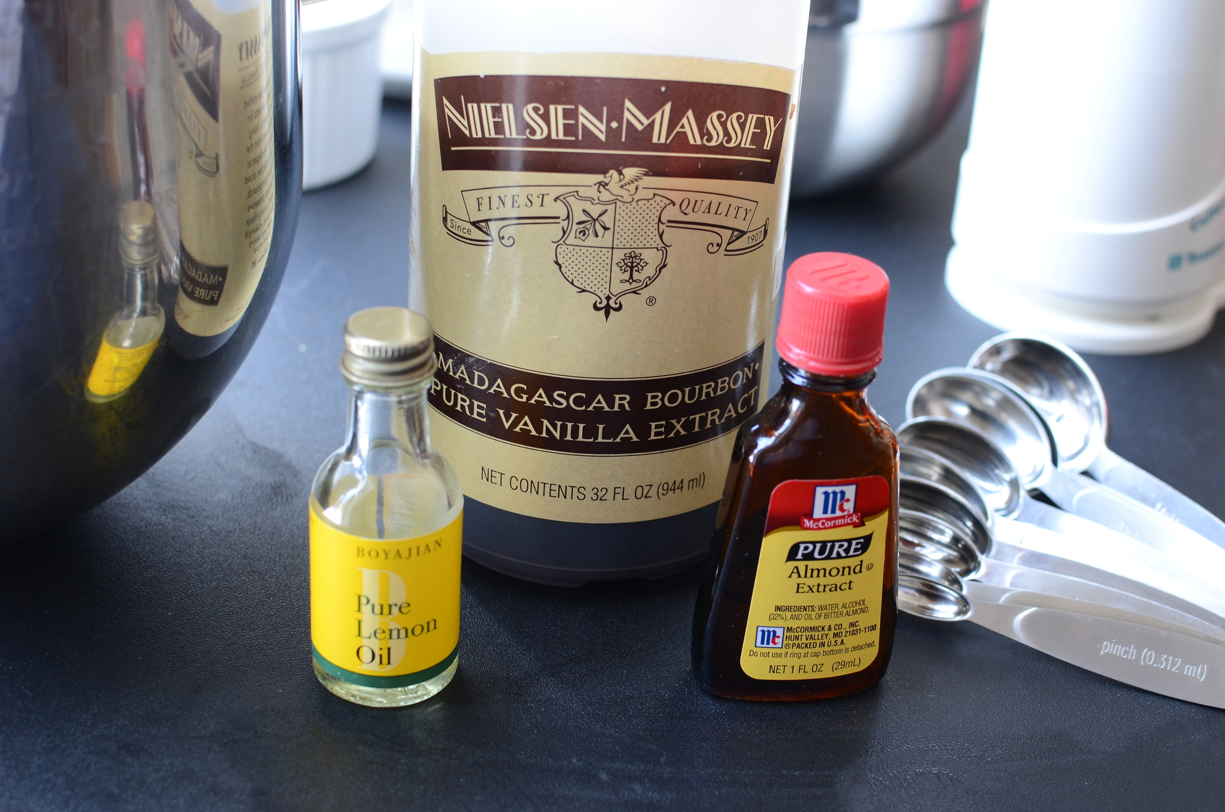 .. .pure lemon oil, pure vanilla extract, and pure almond extract.