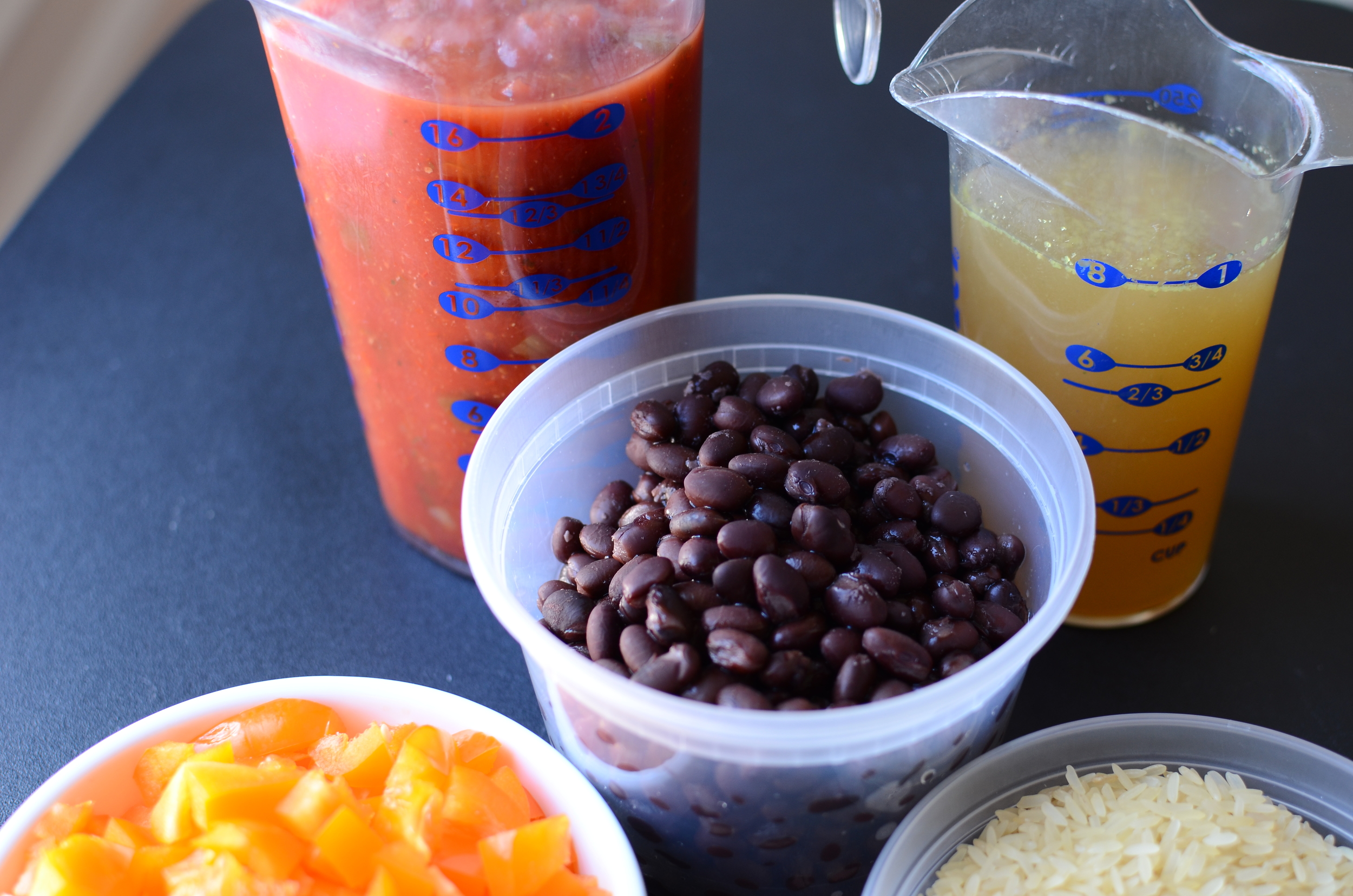 To begin, you'll need salsa, chicken stock, canned black beans that have been rinsed and drained.....