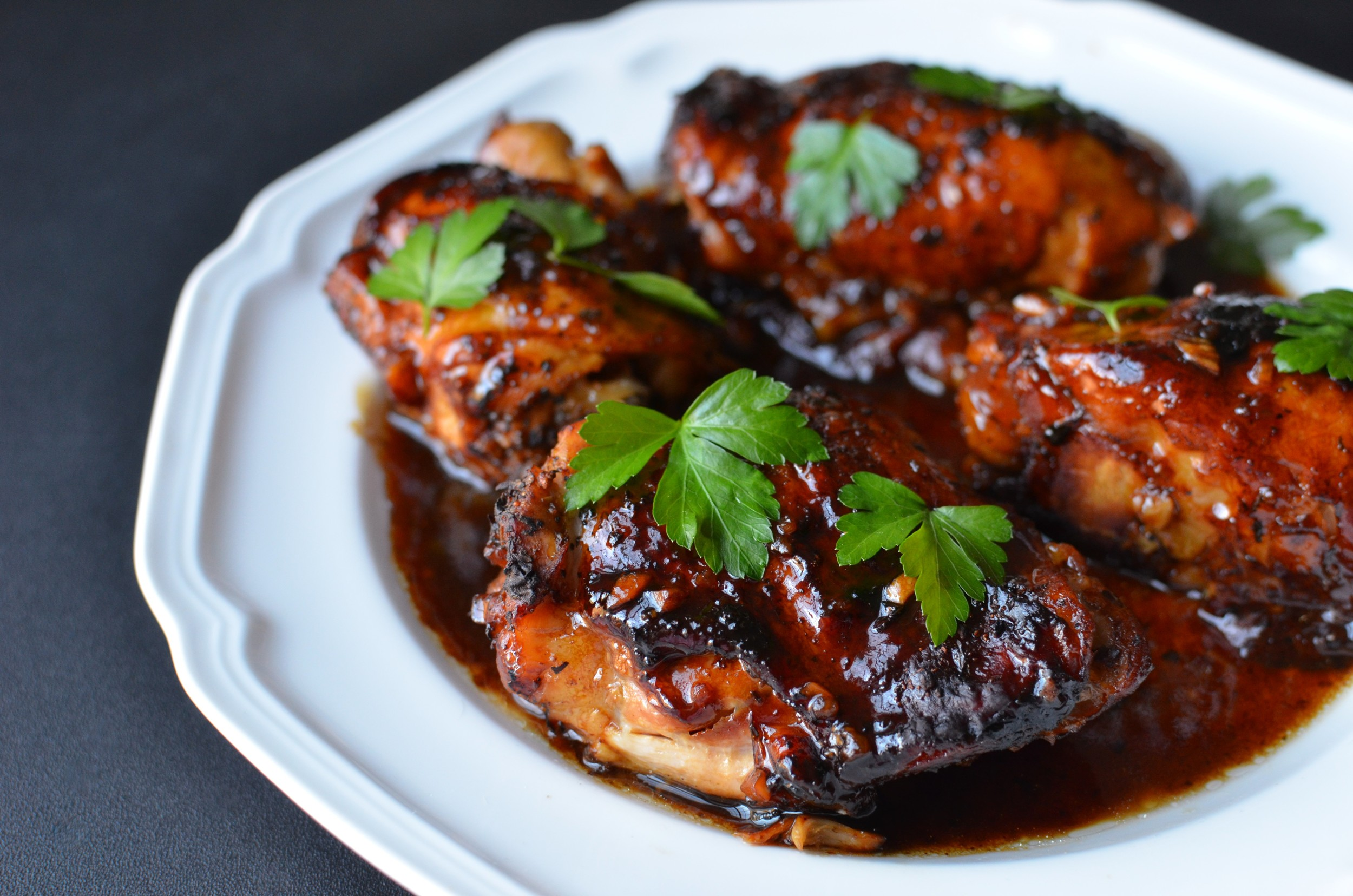 Slow Cooker Balsamic Chicken Thighs - ButterYum. how to cook chicken thighs in the slow cooker or crock pot. what to do with chicken thighs. can I cook chicken thighs in slow cooker? crock pot recipe for chicken thighs.