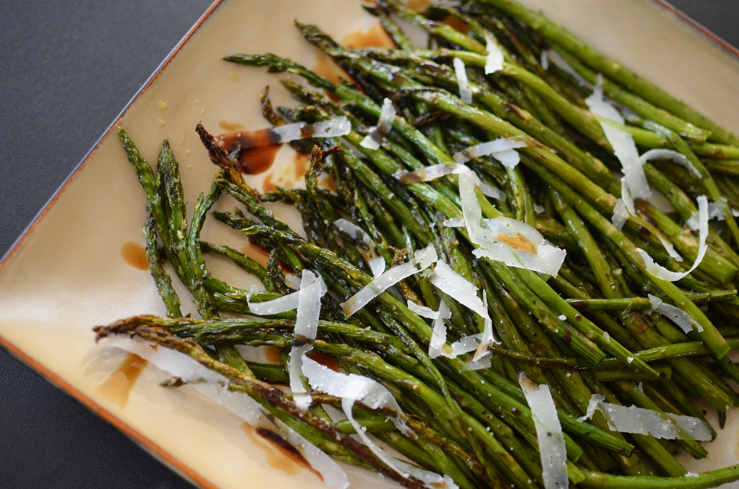 Pencil-Thin Asparagus - ButterYum. thin asparagus recipe. skinny asparagus recipe. how to roast asparagus.