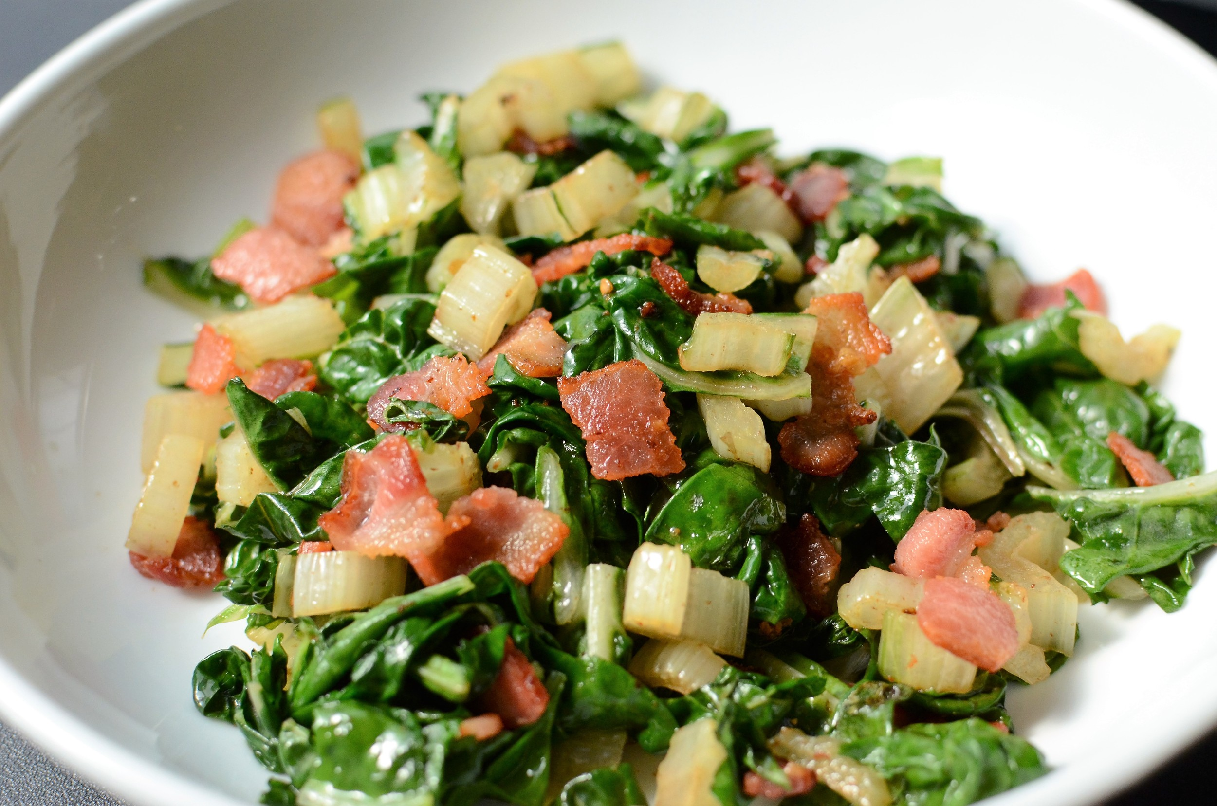 Swiss Chard with Bacon and Garlic - ButterYum