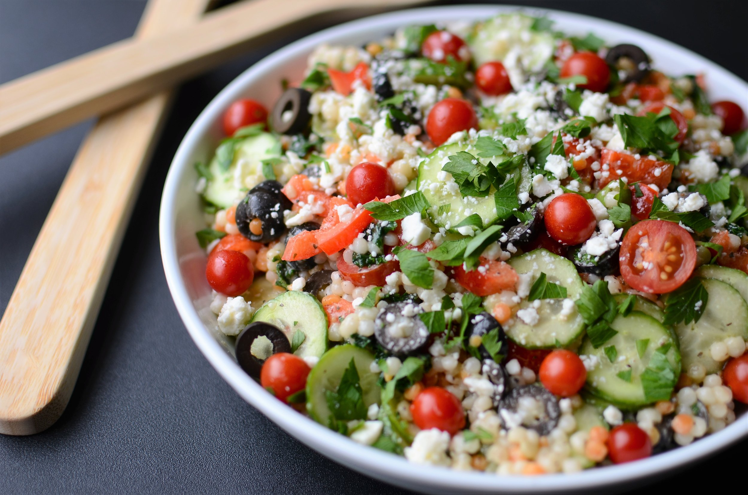 Greek Pearl Couscous Salad - ButterYum — greek Israeli couscous salad recipe. greek pearl couscous salad recipe. couscous salad recipe with cucumber, feta, and olives. couscous with creamy greek salad dressing.