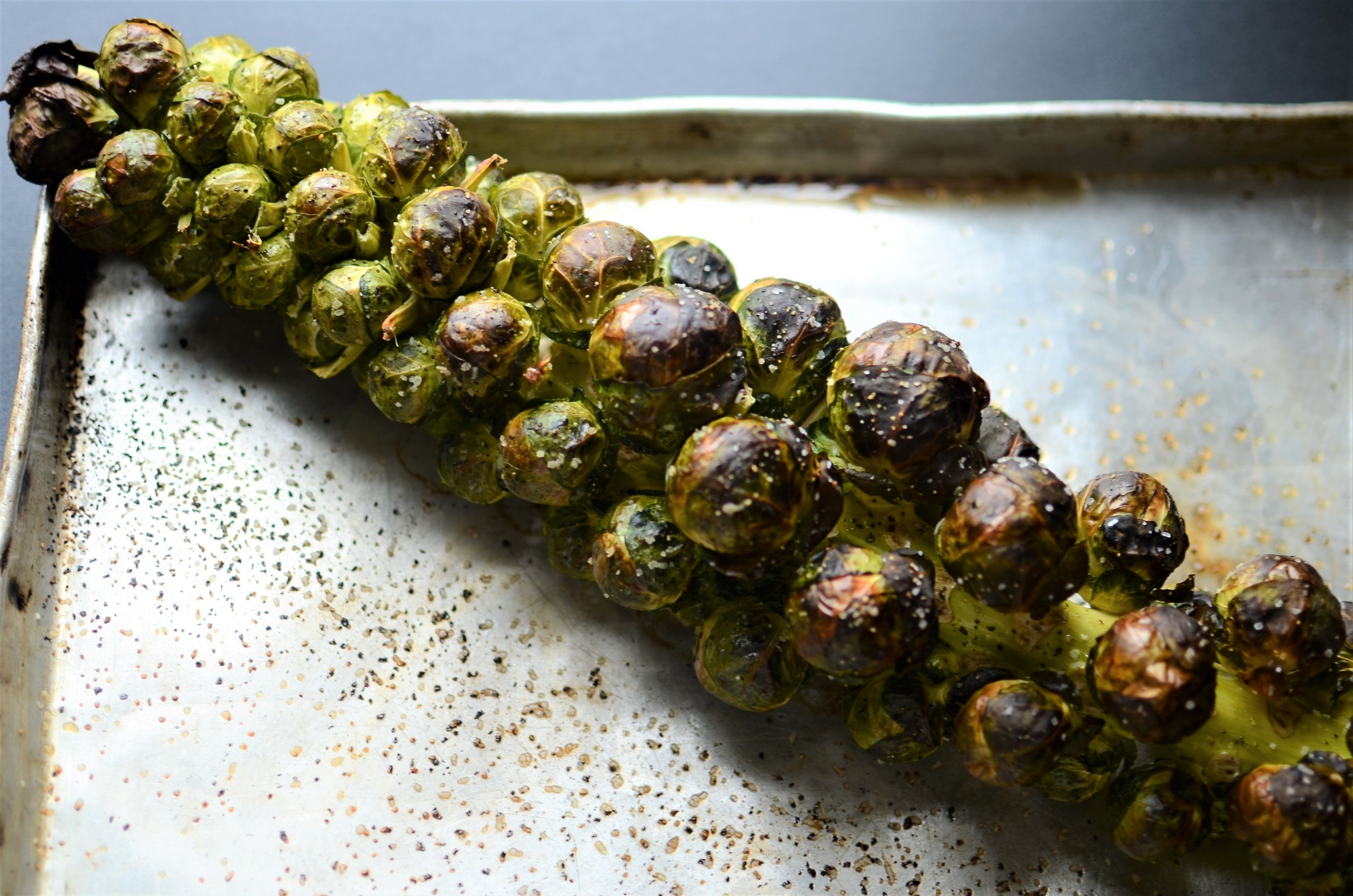 How to roast Brussels sprouts on the stalk