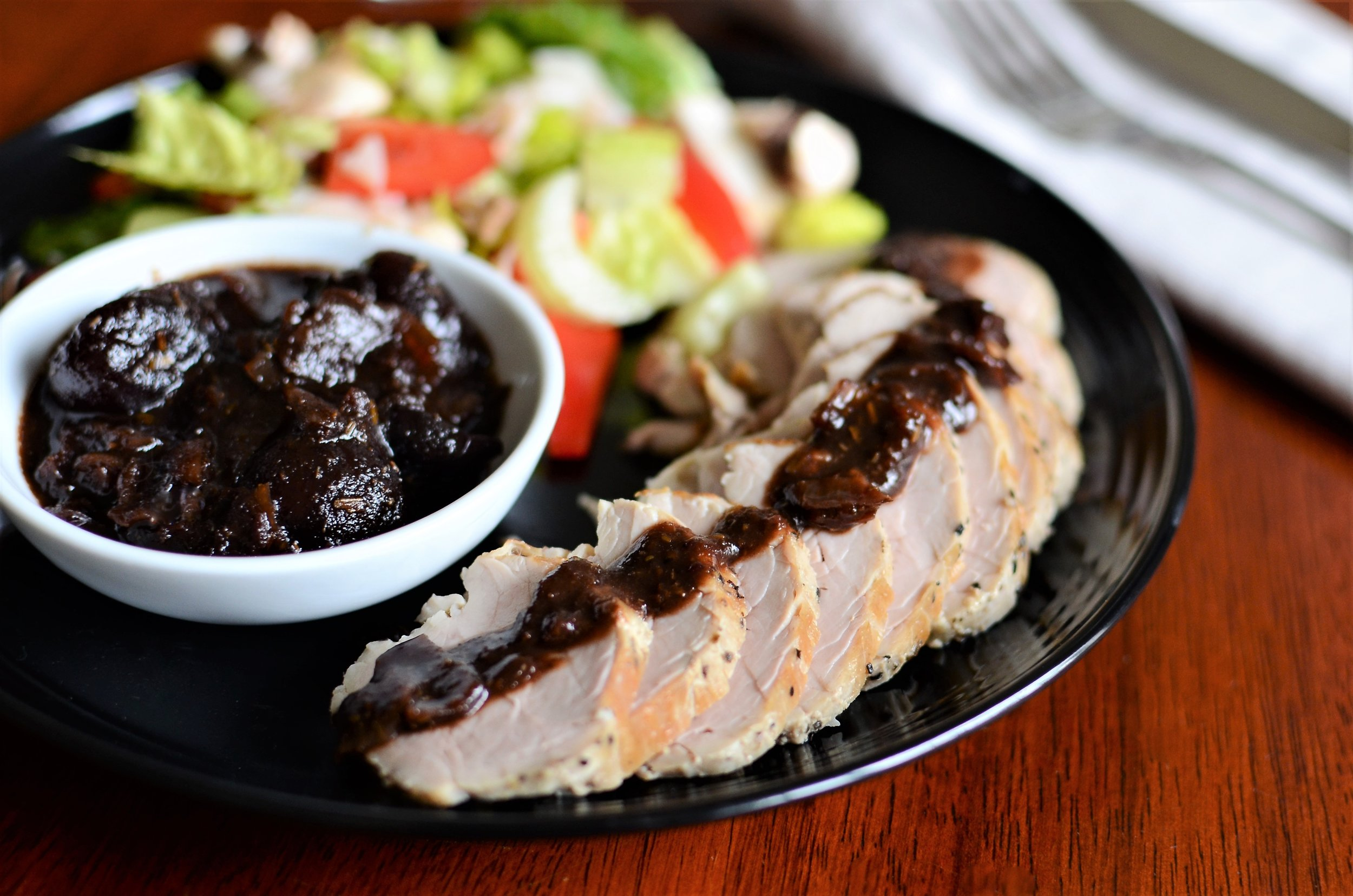 Pork Tenderloin with Cherries and Balsamic - ButterYum. how to cook a pork tenderloin. Recipe for pork tenderloin.