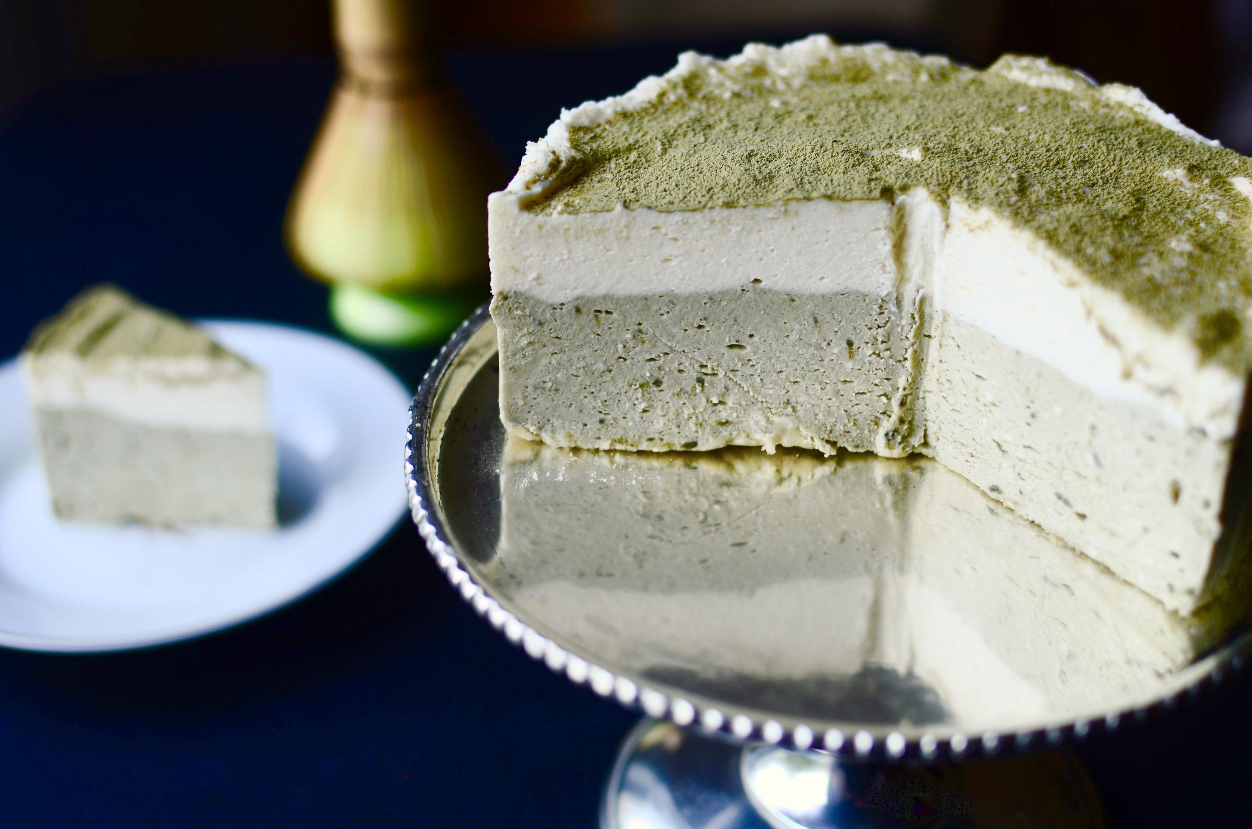ButterYum - Japanese No-Bake Matcha Cheesecake. matcha cheesecake recipe. no bake matcha dessert recipe. how to make matcha dessert.