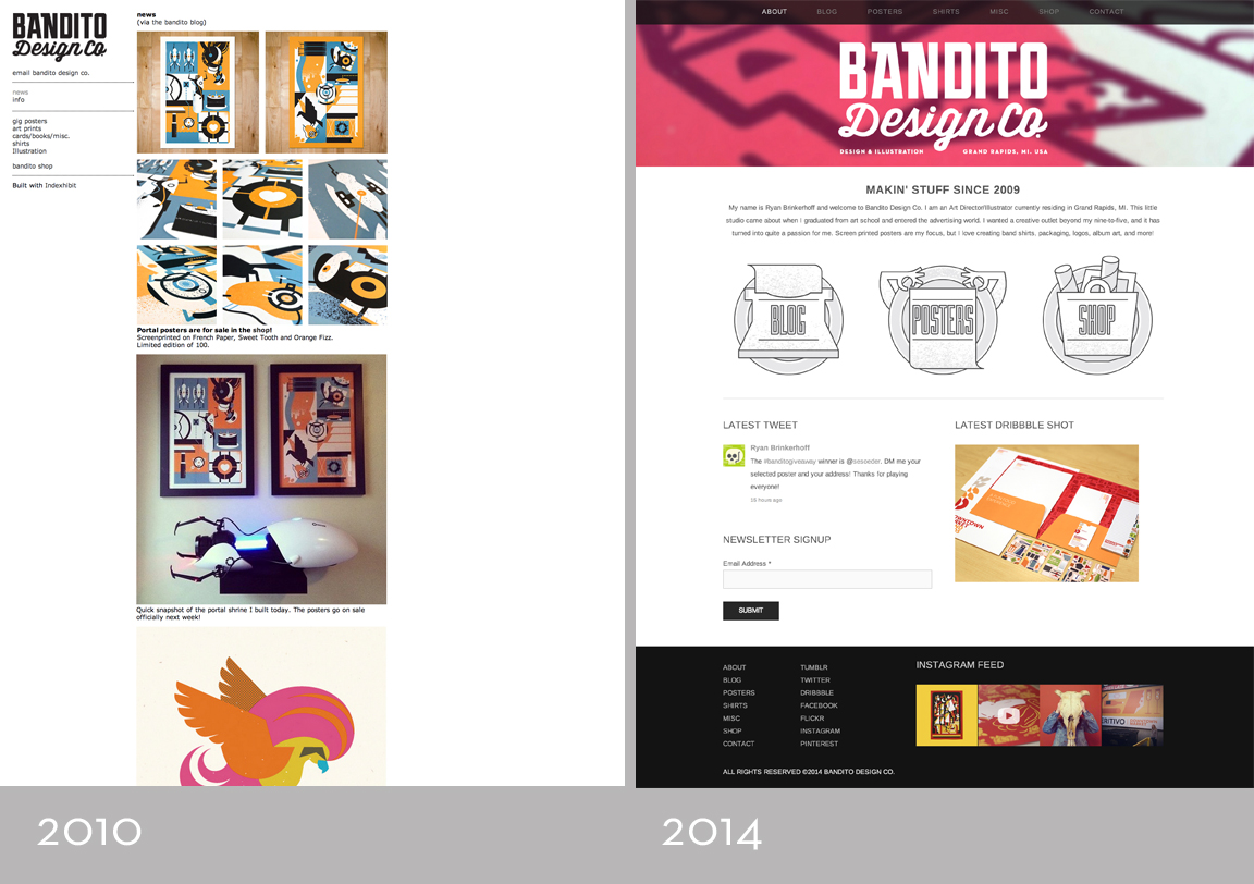 From left to right, Bandito homepage V2 built with Index Exhibit in 2010, Bandito homepage V3 built with Squarespace in 2014. Not pictured: Bandito hompage V1 built with broken twigs and saliva in 2009.