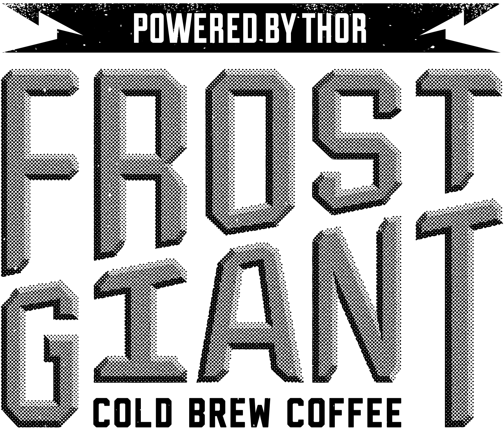 Custom lettering for the FROST GIANT logo. Dimension was achieved with a halftone effect.