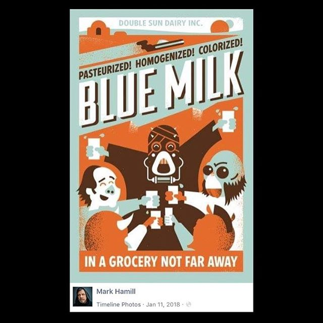 Happy Star Wars day! Remember when @hamillhimself posted my blue milk poster on his Facebook page last year? I SURE DO! #maythe4thbewithyou #design #illustration #movieposters #screenprinting