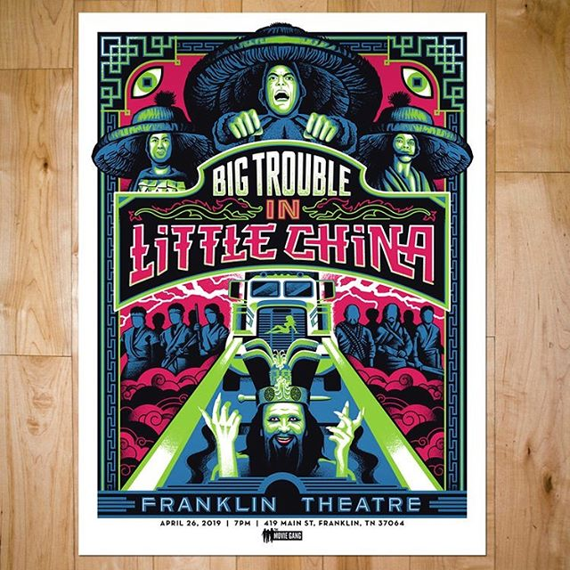 EDIT: ONLY 1 FOIL VARIANT LEFT Big Trouble in Little China poster now in the shop! I have two foil variants for sale too. Swipe to see some shine/details. Printed with black magic by @endhymns! #design #illustration #movieposters #bigtroubleinlittlechina #screenprinting