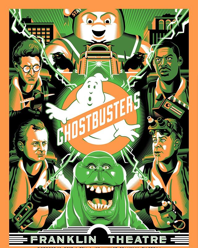 Happy 35th anniversary to Ghostbusters, a movie that scared the slime out of me the first time I saw it (thanks Gozer). I've had the pleasure of making 4 posters for this great flick! #ghostbusters #design #illustration #movieposters #screenprinting