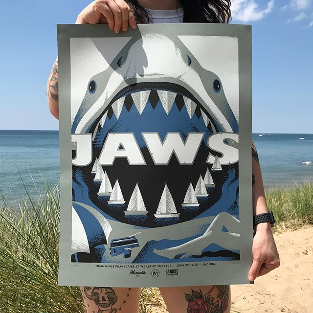 Jaws turned 44 yesterday! Here's a poster I did a few years ago celebrating everyone's favorite cartilaginous cretin. #design #illustration #jaws #movieposters #screenprinting