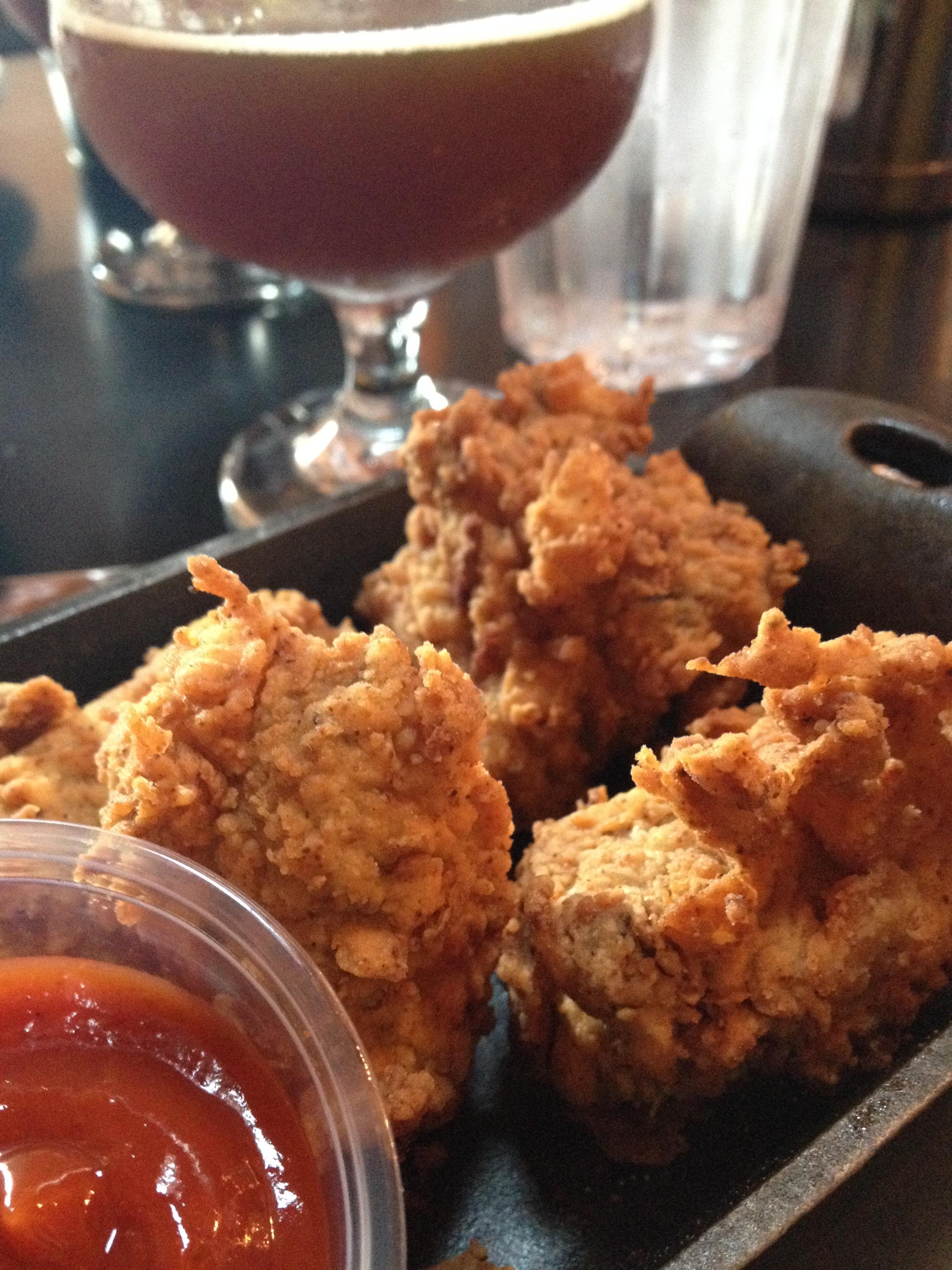 "Deep Fried Duck Livers, buttermilk battered with ""Frankenstein"" Ketchup"